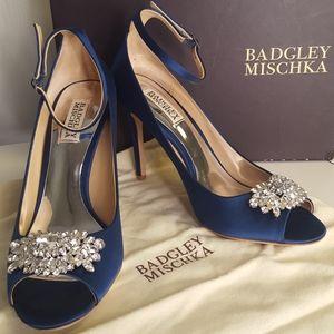 Badgley Mischka Kali Satin Ankle-Strap Pumps